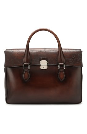 Мужской кожаный портфель BERLUTI коричневого цвета, арт. M124253 | Фото 1