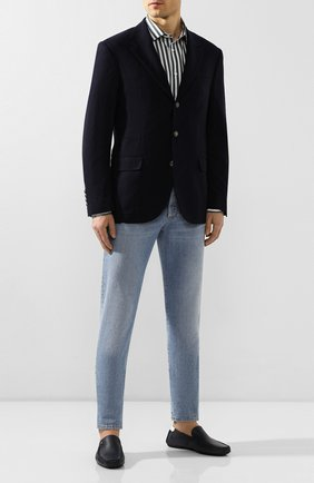 Мужские кожаные мокасины ALDO BRUE темно-синего цвета, арт. AB0019J-VPV | Фото 2