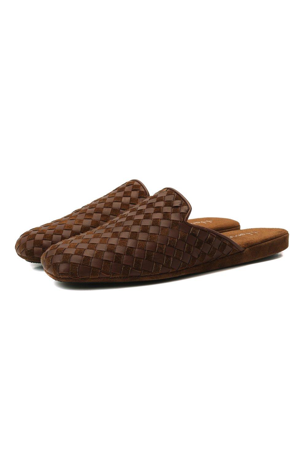 Мужского домашние туфли HOMERS AT HOME светло-коричневого цвета, арт. 16097/ANTE | Фото 1 (Материал внутренний: Натуральная кожа; Мужское Кросс-КТ: тапочки-обувь)