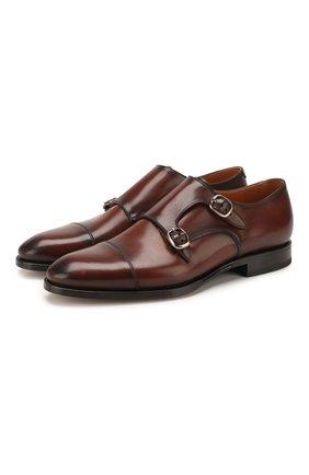 Мужские кожаные монки W.GIBBS коричневого цвета, арт. 7255006/2102   Фото 1