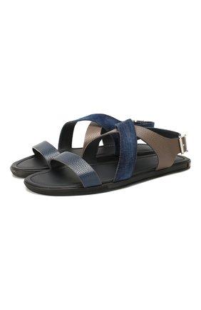 Мужские комбинированные сандалии DOUCAL'S темно-синего цвета, арт. DU1903MALIPF284NB00 | Фото 1