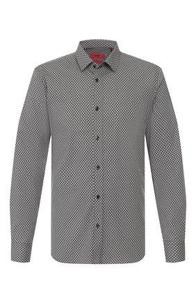 Мужская хлопковая сорочка HUGO черно-белого цвета, арт. 50420744 | Фото 1