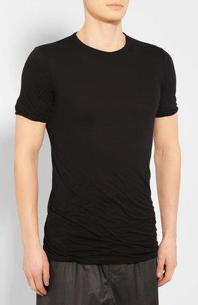 Мужская хлопковая футболка RICK OWENS черного цвета, арт. RU20S7256/UC   Фото 3