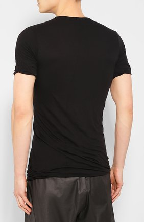Мужская хлопковая футболка RICK OWENS черного цвета, арт. RU20S7256/UC   Фото 4
