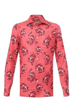 Мужская льняная рубашка KITON розового цвета, арт. UMCNERH0721513 | Фото 1 (Длина (для топов): Стандартные; Материал внешний: Лен; Рукава: Длинные; Случай: Повседневный)