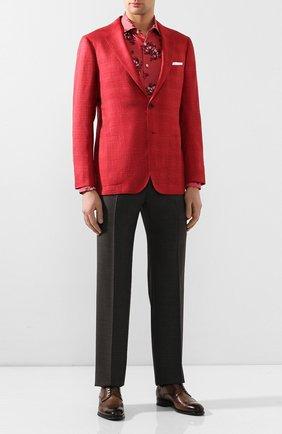 Мужская льняная рубашка KITON розового цвета, арт. UMCNERH0721513 | Фото 2 (Длина (для топов): Стандартные; Материал внешний: Лен; Рукава: Длинные; Случай: Повседневный)