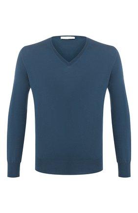 Мужской хлопковый пуловер CRUCIANI бирюзового цвета, арт. CU558.V03 | Фото 1