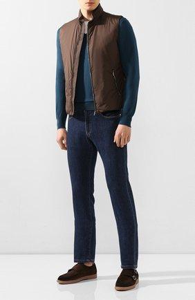 Мужской хлопковый пуловер CRUCIANI бирюзового цвета, арт. CU558.V03 | Фото 2