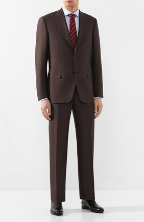 Мужской костюм из смеси шерсти и шелка BRIONI коричневого цвета, арт. RAH00U/P9A5L/PARLAMENT0   Фото 1