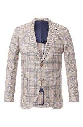 Мужской пиджак из смеси шерсти и шелка L.B.M. 1911 бежевого цвета, арт. 2411/02592 | Фото 1