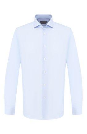 Мужская сорочка из смеси хлопка и льна CORNELIANI голубого цвета, арт. 85P002-0111342/00 | Фото 1