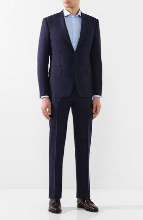 Мужская сорочка из смеси хлопка и льна CORNELIANI голубого цвета, арт. 85P002-0111342/00 | Фото 2