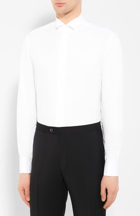 Мужская хлопковая сорочка CORNELIANI белого цвета, арт. 85E191-0111102/00   Фото 3