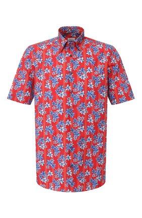 Мужская хлопковая рубашка ZILLI красного цвета, арт. MFT-01504-84002/RZ03   Фото 1 (Длина (для топов): Стандартные; Рукава: Короткие; Материал внешний: Хлопок; Случай: Повседневный; Воротник: Кент)