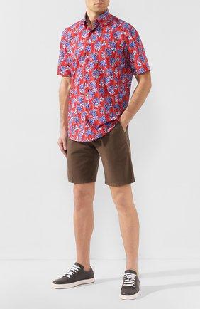 Мужская хлопковая рубашка ZILLI красного цвета, арт. MFT-01504-84002/RZ03   Фото 2 (Длина (для топов): Стандартные; Рукава: Короткие; Материал внешний: Хлопок; Случай: Повседневный; Воротник: Кент)