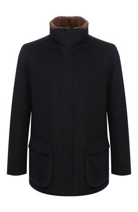 Мужской шерстяное пальто с меховой подкладкой LORO PIANA темно-синего цвета, арт. FAD7334 | Фото 1