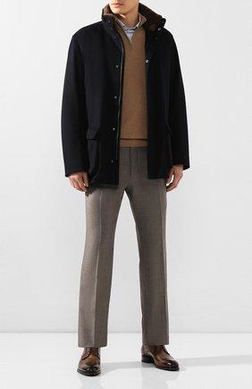 Мужской шерстяное пальто с меховой подкладкой LORO PIANA темно-синего цвета, арт. FAD7334 | Фото 2