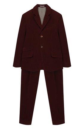 Детский хлопковый костюм BRUNELLO CUCINELLI бордового цвета, арт. BN417LDWHB | Фото 1