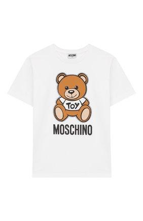 Детская хлопковая футболка MOSCHINO KID белого цвета, арт. HWM029/LBA00/10A-14A | Фото 1