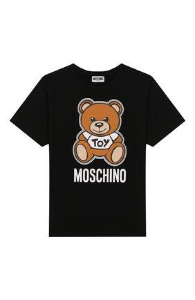 Детская хлопковая футболка MOSCHINO KID черного цвета, арт. HWM029/LBA00/10A-14A | Фото 1