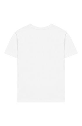 Детская хлопковая футболка MOSCHINO KID белого цвета, арт. HWM029/LBA00/4A-8A | Фото 2