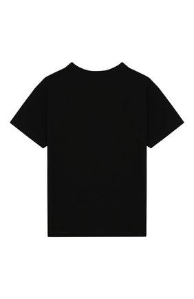Детская хлопковая футболка MOSCHINO KID черного цвета, арт. HWM029/LBA00/4A-8A | Фото 2