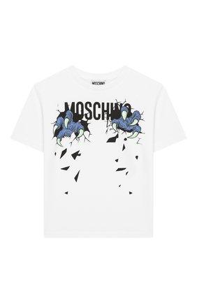 Детская хлопковая футболка MOSCHINO KID белого цвета, арт. HXM029/LBA00/4A-8A | Фото 1