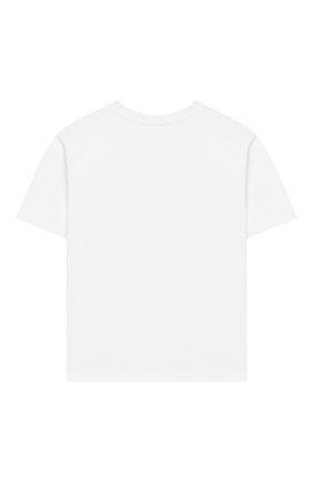 Детская хлопковая футболка MOSCHINO KID белого цвета, арт. HXM029/LBA00/4A-8A | Фото 2