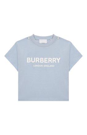Детский хлопковая футболка BURBERRY голубого цвета, арт. 8022714 | Фото 1
