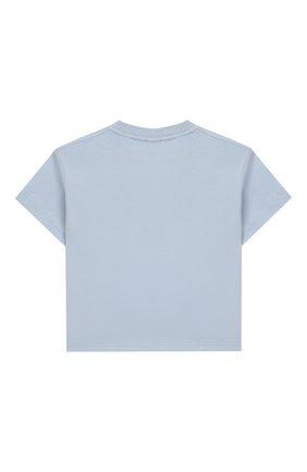 Детский хлопковая футболка BURBERRY голубого цвета, арт. 8022714 | Фото 2