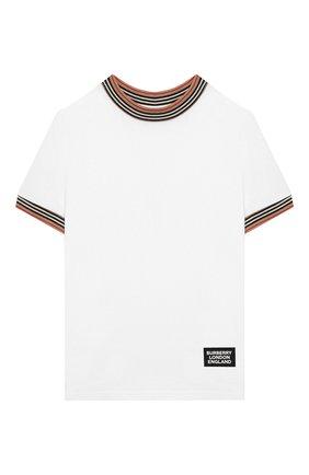 Детская хлопковая футболка BURBERRY белого цвета, арт. 8022251 | Фото 1