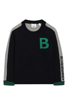 Детский шерстяной пуловер BURBERRY темно-синего цвета, арт. 8022112 | Фото 1