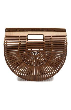Женская сумка ark small CULT GAIA коричневого цвета, арт. 20018WD CHN   Фото 1 (Сумки-технические: Сумки top-handle; Материал: Растительное волокно; Размер: small)