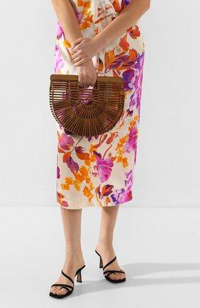 Женская сумка ark small CULT GAIA коричневого цвета, арт. 20018WD CHN   Фото 2 (Сумки-технические: Сумки top-handle; Материал: Растительное волокно; Размер: small)