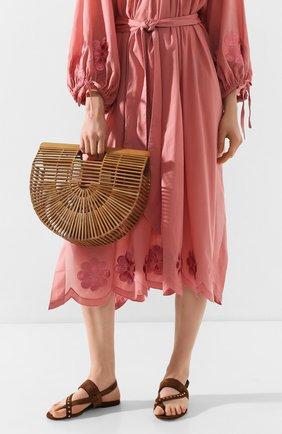 Женская сумка ark large CULT GAIA коричневого цвета, арт. 20019WD CHN   Фото 2 (Сумки-технические: Сумки top-handle; Материал: Растительное волокно; Размер: large)
