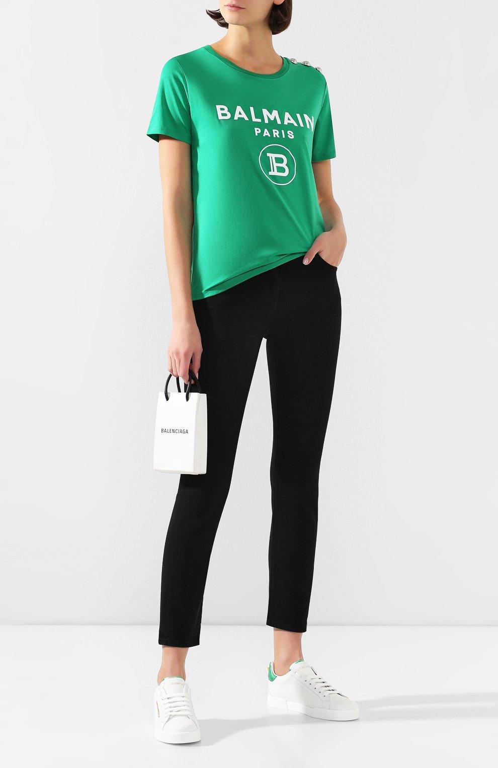 Женские кожаные кеды portofino DOLCE & GABBANA зеленого цвета, арт. CK1602/AN298   Фото 2