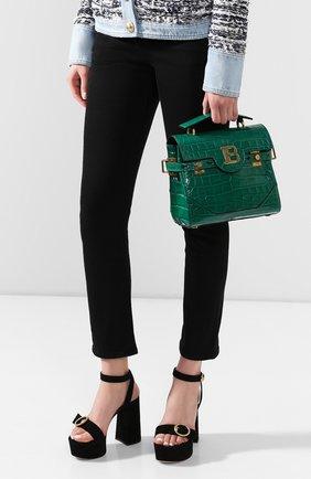 Женская сумка bbuzz 23 из кожи аллигатора BALMAIN зеленого цвета, арт. TN1S407/LALR/AMIS | Фото 2