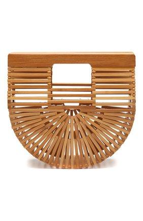 Женская сумка ark micro CULT GAIA светло-коричневого цвета, арт. 23004WD TAN   Фото 1 (Ремень/цепочка: На ремешке; Размер: small; Сумки-технические: Сумки top-handle, Сумки через плечо; Материал: Растительное волокно)