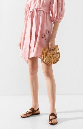 Женская сумка ark micro CULT GAIA светло-коричневого цвета, арт. 23004WD TAN   Фото 2 (Ремень/цепочка: На ремешке; Размер: small; Сумки-технические: Сумки top-handle, Сумки через плечо; Материал: Растительное волокно)