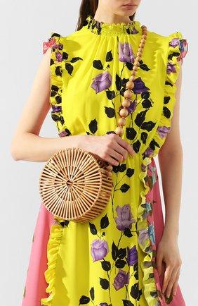 Женская сумка luna CULT GAIA светло-коричневого цвета, арт. 23001WD TAN   Фото 2 (Ремень/цепочка: На ремешке; Размер: mini; Сумки-технические: Сумки через плечо; Материал: Растительное волокно)