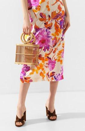 Женская сумка coco mini CULT GAIA светло-коричневого цвета, арт. 20117WD TAN   Фото 2 (Размер: mini; Сумки-технические: Сумки top-handle; Материал: Растительное волокно)