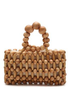Женская сумка cora CULT GAIA светло-коричневого цвета, арт. 20044WD TAN   Фото 1 (Размер: small; Сумки-технические: Сумки top-handle; Материал: Растительное волокно)