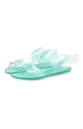 Женские резиновые сандалии OFF-WHITE голубого цвета, арт. 0WIA136R20D340683100   Фото 1