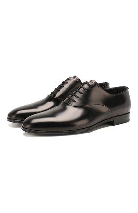 Мужские кожаные оксфорды BURBERRY черного цвета, арт. 8023875 | Фото 1 (Материал внутренний: Текстиль, Натуральная кожа; Стили: Классический)