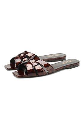 Женские кожаные шлепанцы nu pieds SAINT LAURENT коричневого цвета, арт. 572761/1QX00   Фото 1
