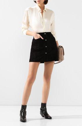 Женские кожаные ботинки west SAINT LAURENT черного цвета, арт. 606222/06A00 | Фото 2