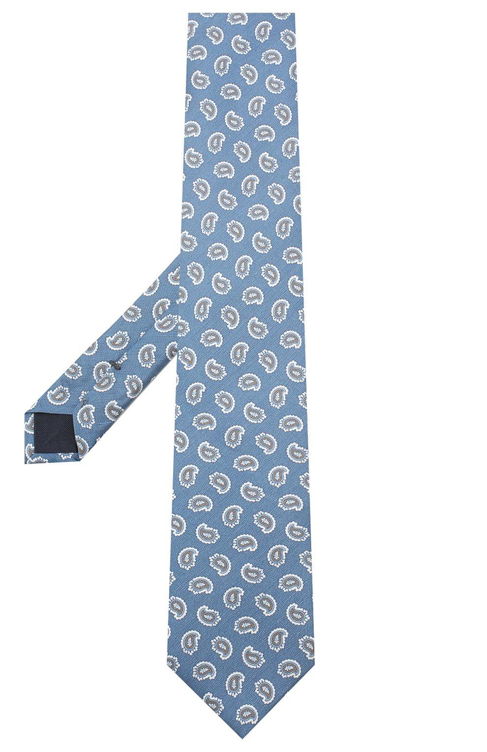 Мужской галстук из смеси шелка и льна VAN LAACK темно-синего цвета, арт. LUIS-PEL/K70755   Фото 2