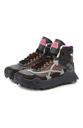 Мужские комбинированные кросcовки odsy-1000 OFF-WHITE темно-серого цвета, арт. 0MIA162S208000421008 | Фото 1