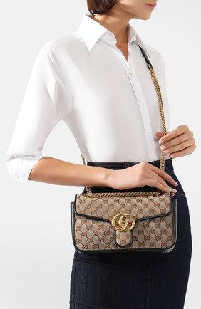 Женская сумка gg marmont small GUCCI черного цвета, арт. 443497/HVKEG | Фото 2