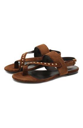 Женские замшевые сандалии gia SAINT LAURENT коричневого цвета, арт. 606742/1NZTT | Фото 1